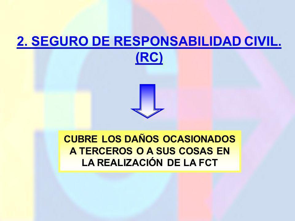 2. SEGURO DE RESPONSABILIDAD CIVIL. (RC) CUBRE LOS DAÑOS OCASIONADOS A TERCEROS O A SUS COSAS EN LA REALIZACIÓN DE LA FCT