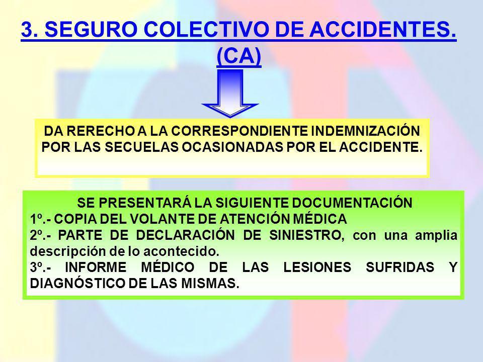 3. SEGURO COLECTIVO DE ACCIDENTES. (CA) DA RERECHO A LA CORRESPONDIENTE INDEMNIZACIÓN POR LAS SECUELAS OCASIONADAS POR EL ACCIDENTE. SE PRESENTARÁ LA