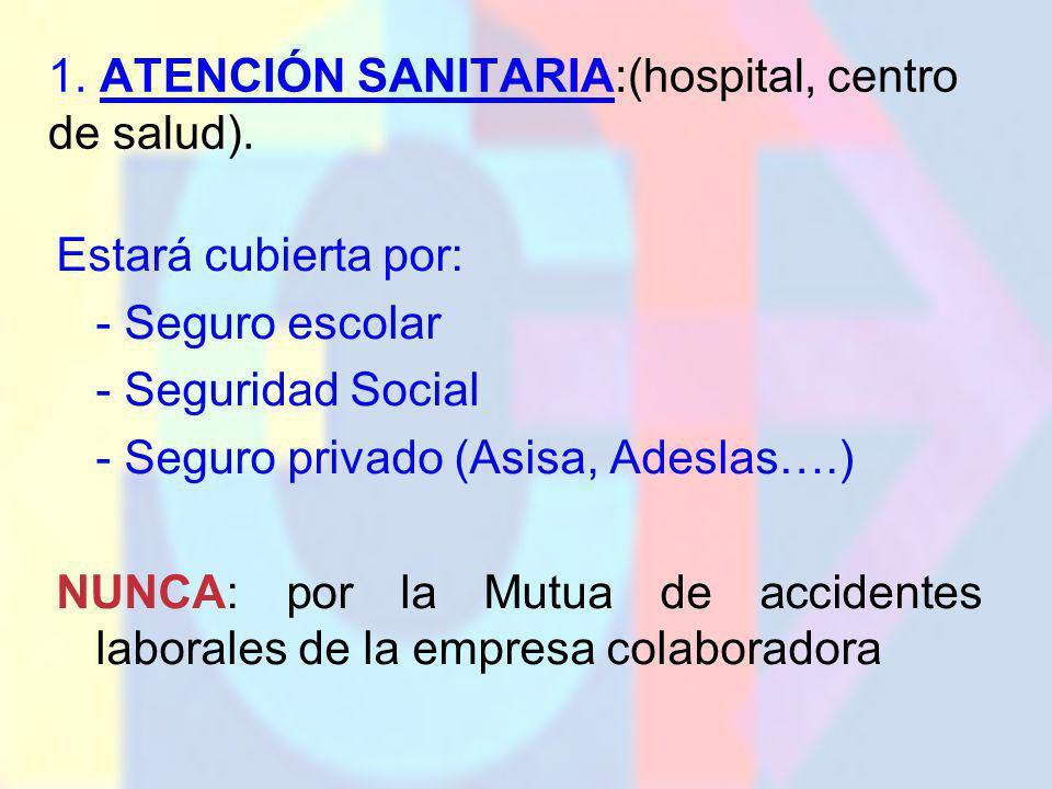 1. ATENCIÓN SANITARIA:(hospital, centro de salud). Estará cubierta por: - Seguro escolar - Seguridad Social - Seguro privado (Asisa, Adeslas….) NUNCA: