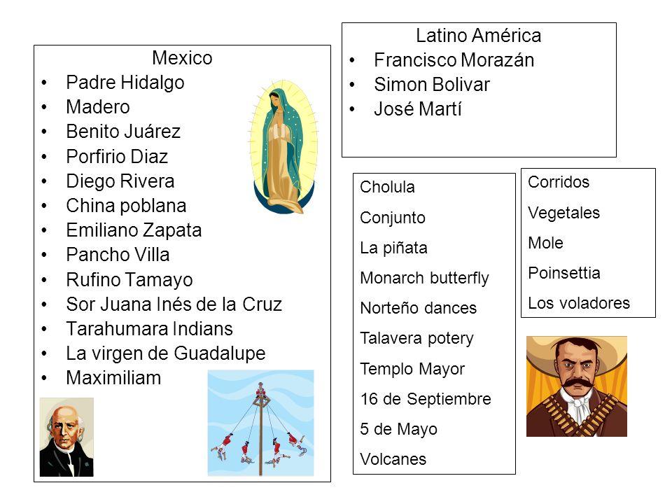 Mexico Padre Hidalgo Madero Benito Juárez Porfirio Diaz Diego Rivera China poblana Emiliano Zapata Pancho Villa Rufino Tamayo Sor Juana Inés de la Cru