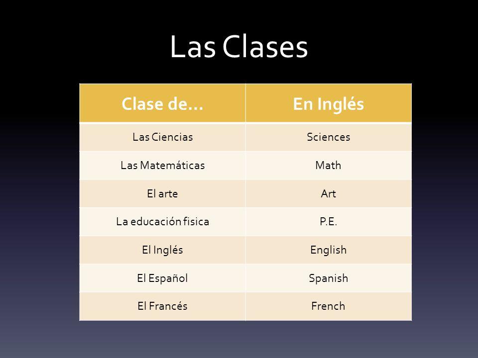 Las Clases Clase de…En Inglés Las CienciasSciences Las MatemáticasMath El arteArt La educación fisicaP.E.