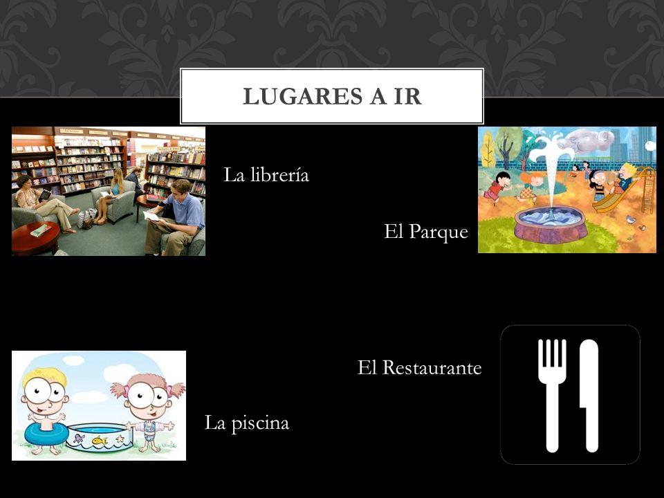 LUGARES A IR La librería El Parque La piscina El Restaurante