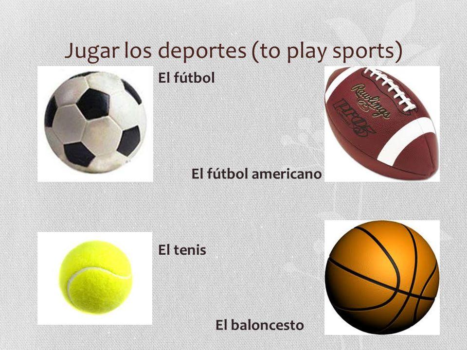 Jugar los deportes (to play sports) El fútbol El fútbol americano El baloncesto El tenis