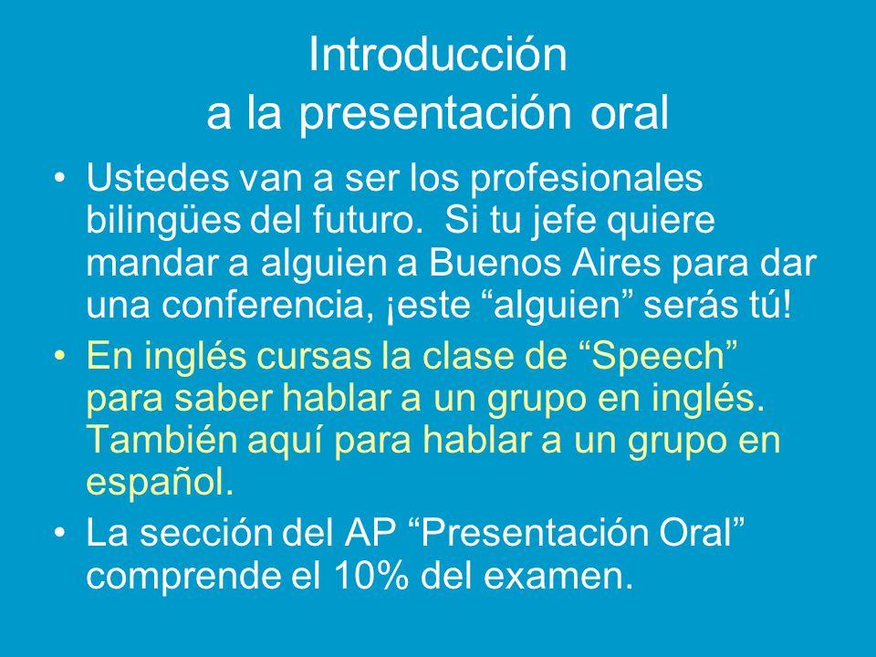 Introducción a la presentación oral Ustedes van a ser los profesionales bilingües del futuro. Si tu jefe quiere mandar a alguien a Buenos Aires para d