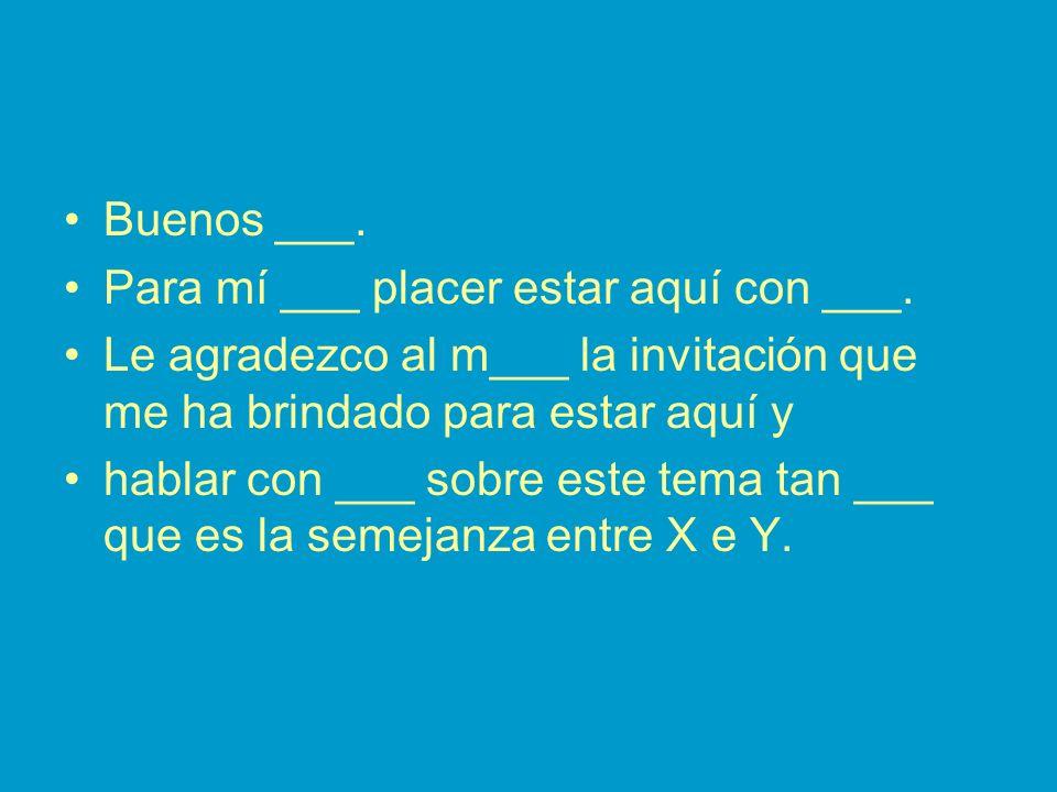 Buenos ___. Para mí ___ placer estar aquí con ___.