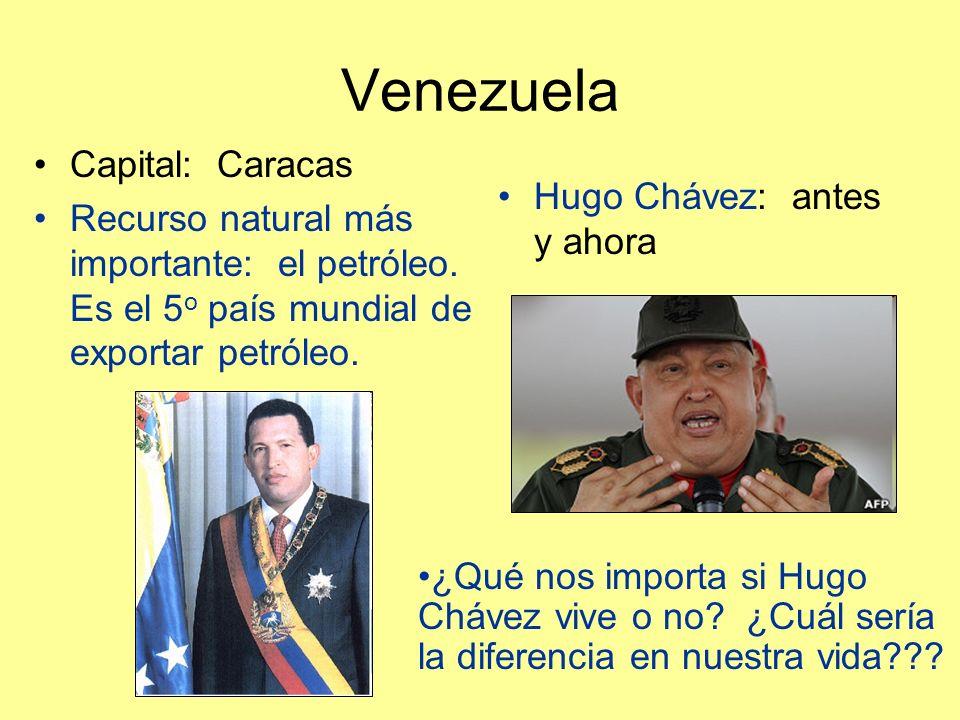 Venezuela Capital: Caracas Recurso natural más importante: el petróleo.