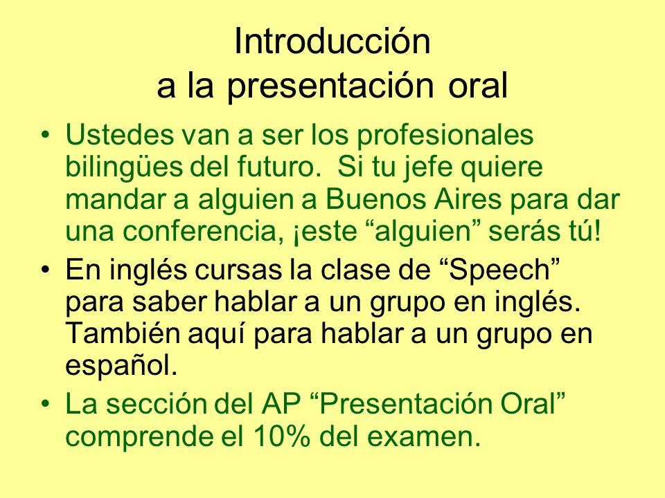 Introducción a la presentación oral Ustedes van a ser los profesionales bilingües del futuro.