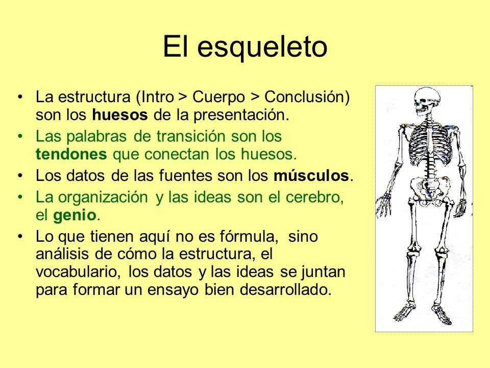 El esqueleto La estructura (Intro > Cuerpo > Conclusión) son los huesos de la presentación.