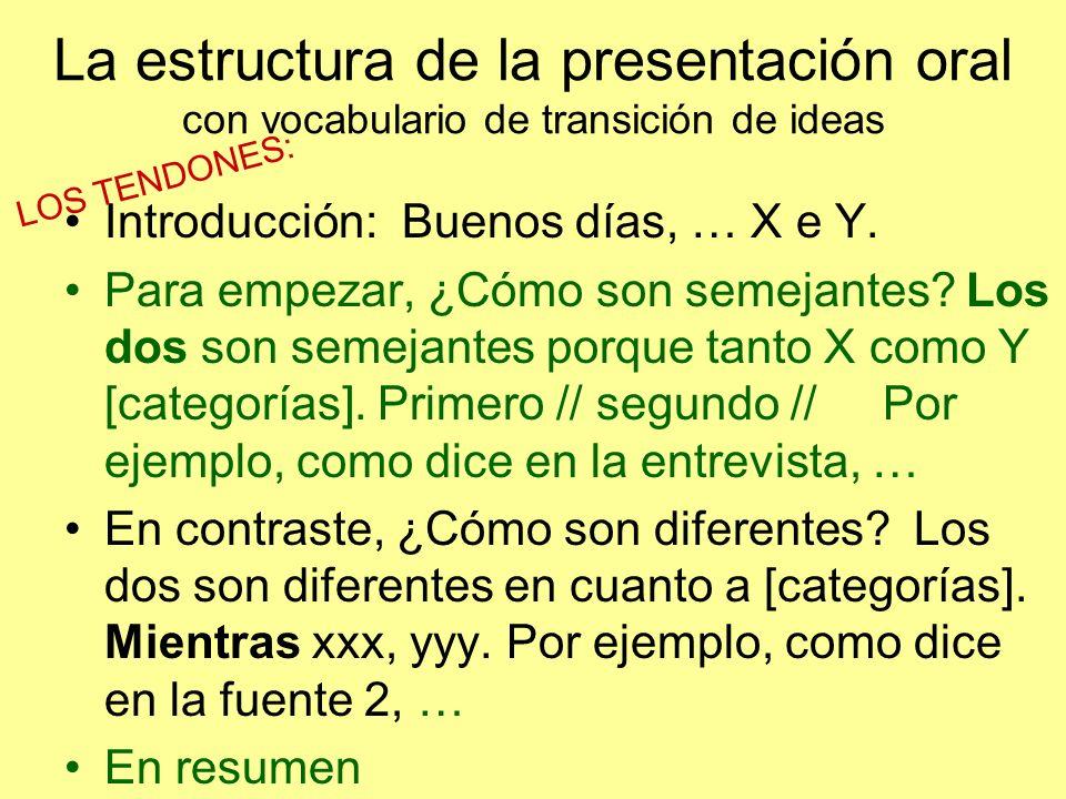 La estructura de la presentación oral con vocabulario de transición de ideas Introducción: Buenos días, … X e Y.