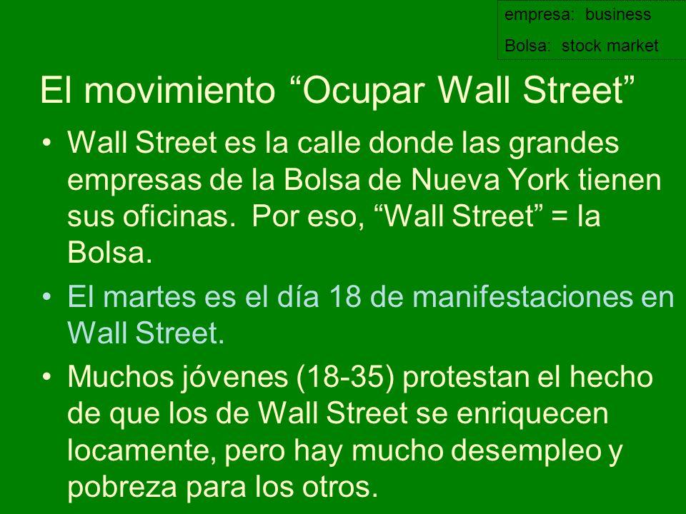 El movimiento Ocupar Wall Street Wall Street es la calle donde las grandes empresas de la Bolsa de Nueva York tienen sus oficinas. Por eso, Wall Stree