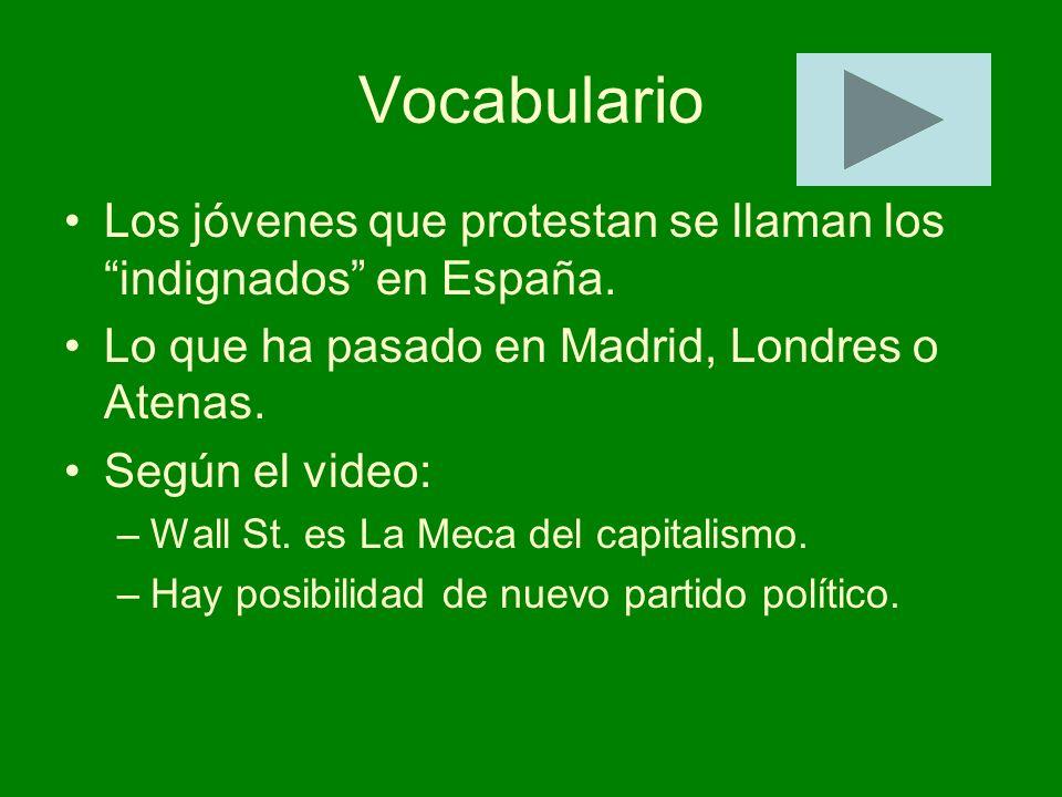 Vocabulario Los jóvenes que protestan se llaman los indignados en España. Lo que ha pasado en Madrid, Londres o Atenas. Según el video: –Wall St. es L