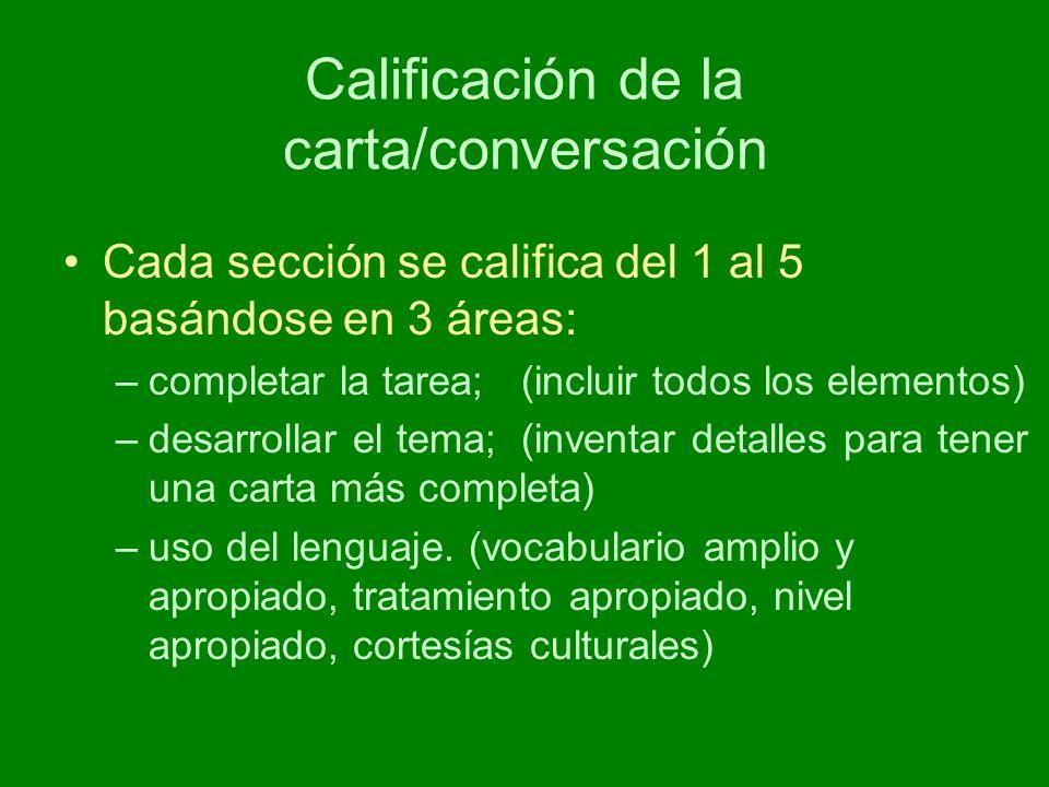 Calificación de la carta/conversación Cada sección se califica del 1 al 5 basándose en 3 áreas: –completar la tarea; (incluir todos los elementos) –desarrollar el tema; (inventar detalles para tener una carta más completa) –uso del lenguaje.