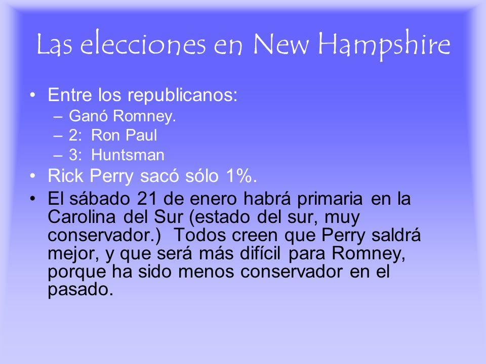 Las elecciones en New Hampshire Entre los republicanos: –Ganó Romney. –2: Ron Paul –3: Huntsman Rick Perry sacó sólo 1%. El sábado 21 de enero habrá p