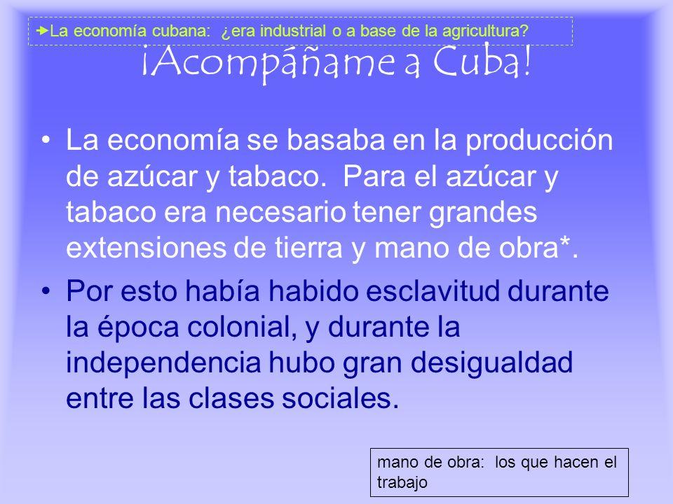 ¡Acompáñame a Cuba! La economía se basaba en la producción de azúcar y tabaco. Para el azúcar y tabaco era necesario tener grandes extensiones de tier