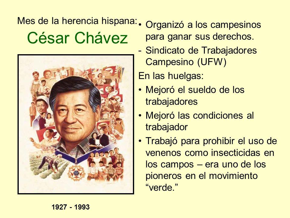 Mes de la herencia hispana: César Chávez Organizó a los campesinos para ganar sus derechos. -Sindicato de Trabajadores Campesino (UFW) En las huelgas: