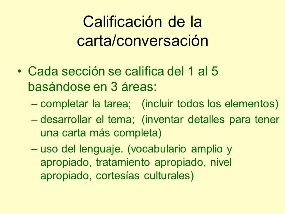 Calificación de la carta/conversación Cada sección se califica del 1 al 5 basándose en 3 áreas: –completar la tarea; (incluir todos los elementos) –de