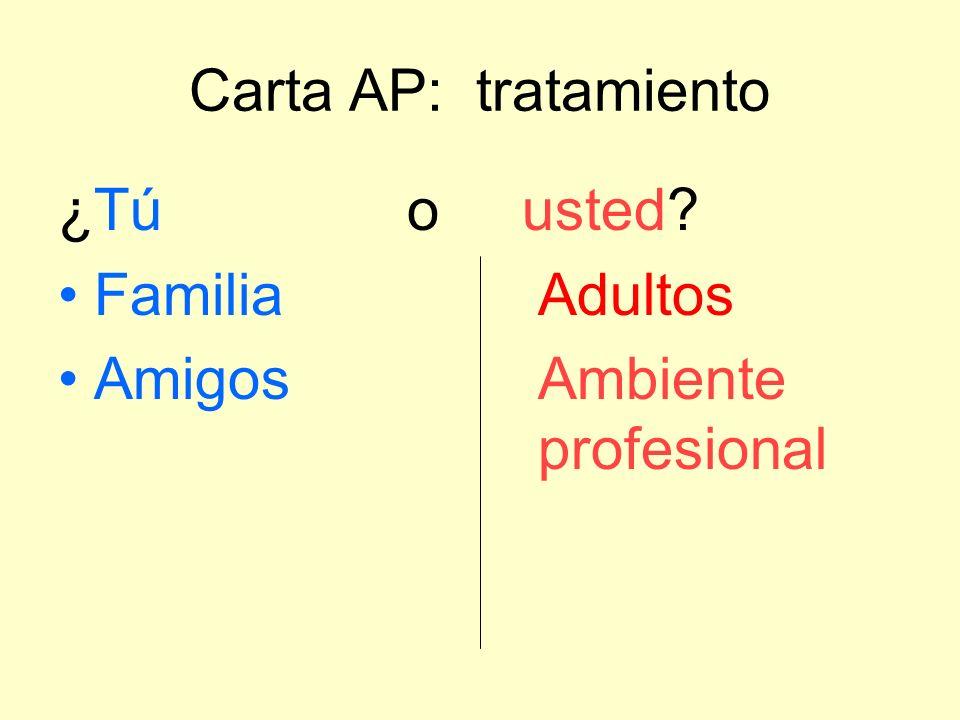 Carta AP: tratamiento ¿Tú o usted? FamiliaAdultos AmigosAmbiente profesional