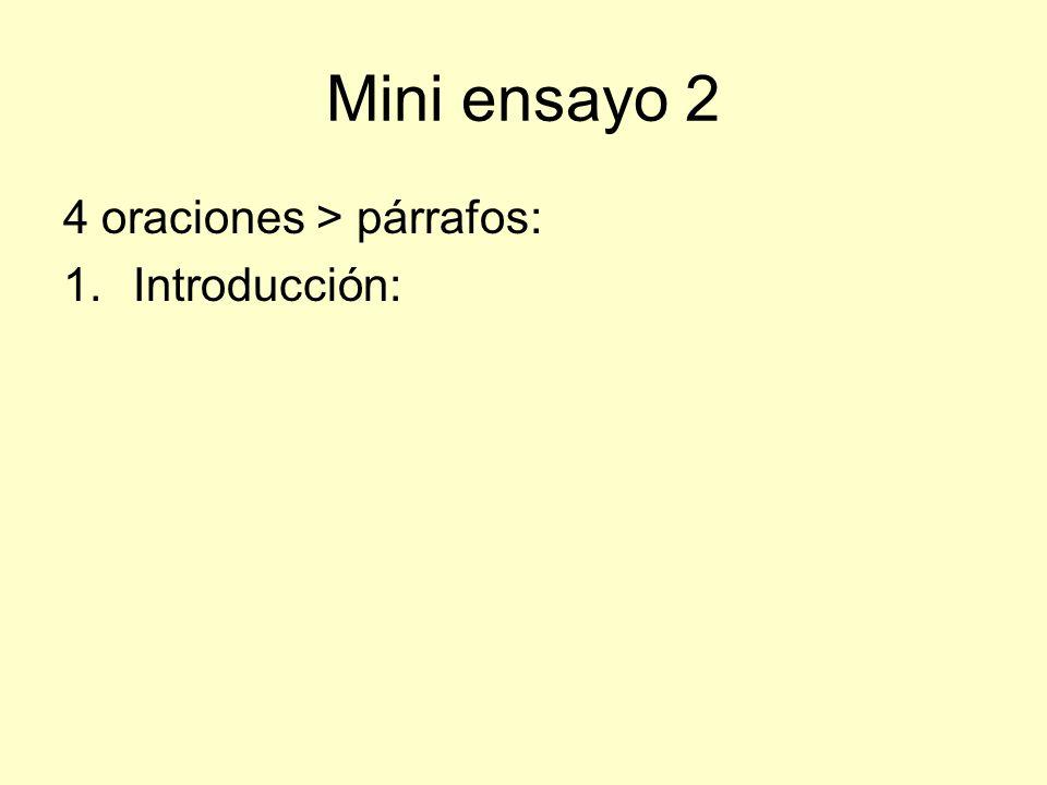 Mini ensayo 2 4 oraciones > párrafos: 1.Introducción: