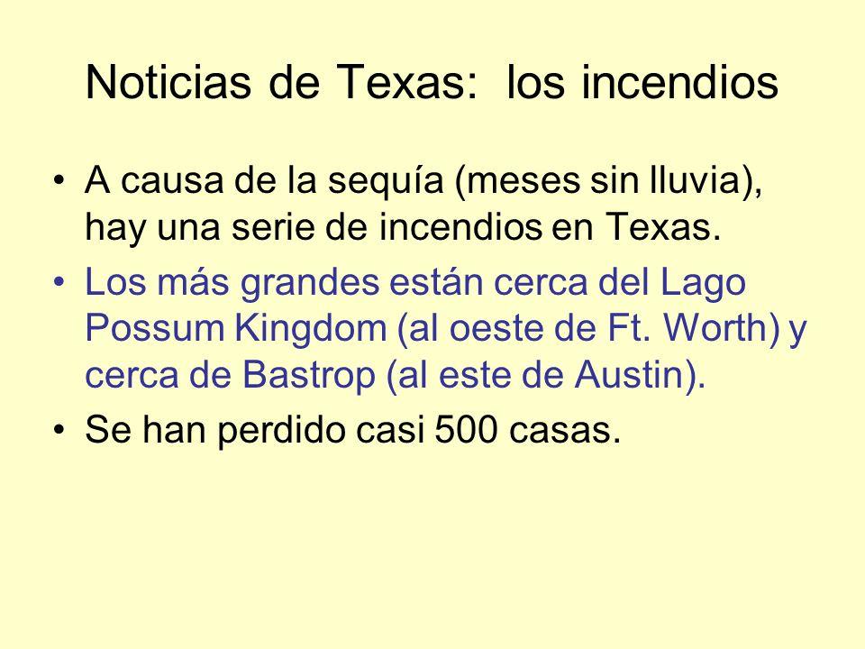 Noticias de Texas: los incendios A causa de la sequía (meses sin lluvia), hay una serie de incendios en Texas.