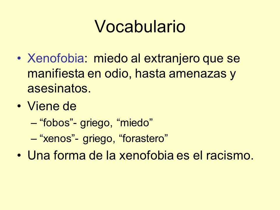 Vocabulario Xenofobia: miedo al extranjero que se manifiesta en odio, hasta amenazas y asesinatos.