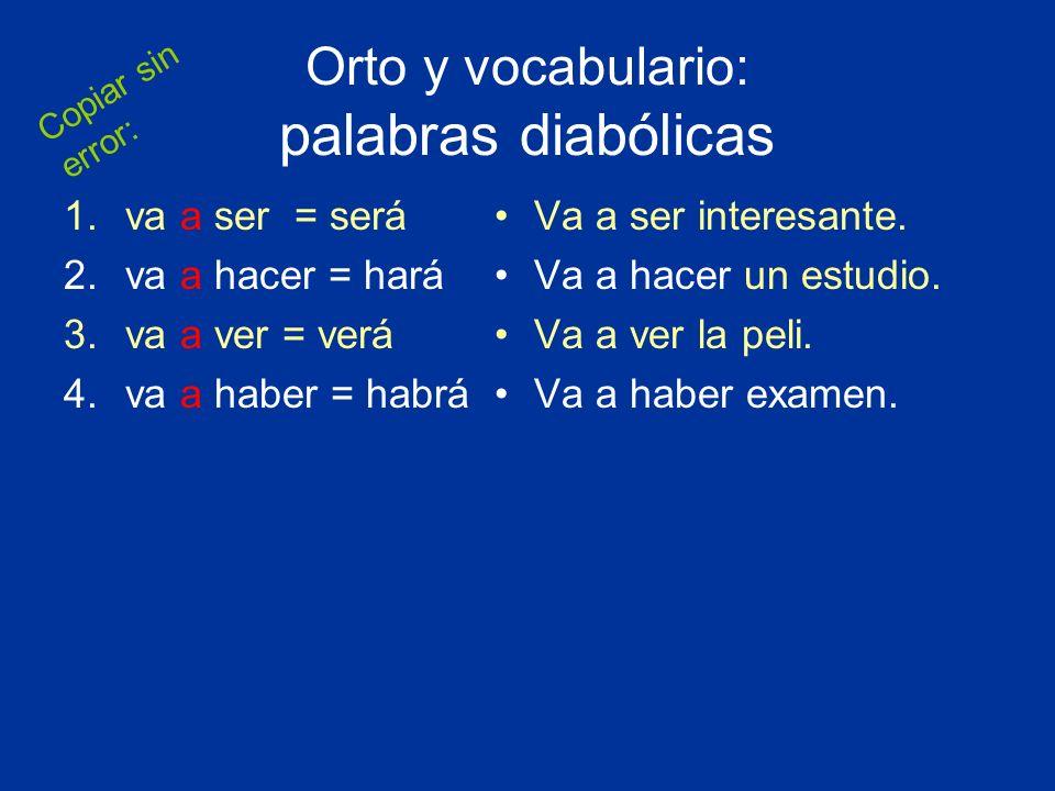 Orto y vocabulario: palabras diabólicas 1.va a ser = será 2.va a hacer = hará 3.va a ver = verá 4.va a haber = habrá Va a ser interesante. Va a hacer