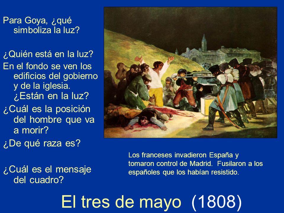 Para Goya, ¿qué simboliza la luz? ¿Quién está en la luz? En el fondo se ven los edificios del gobierno y de la iglesia. ¿Están en la luz? ¿Cuál es la