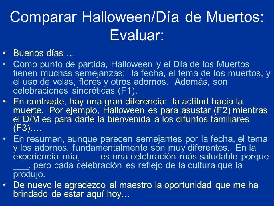 Comparar Halloween/Día de Muertos: Evaluar: Buenos días … Como punto de partida, Halloween y el Día de los Muertos tienen muchas semejanzas: la fecha,