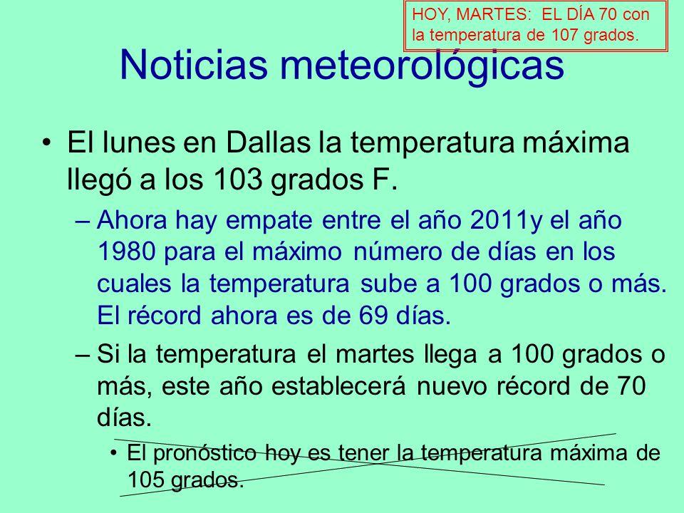 Noticias meteorológicas El lunes en Dallas la temperatura máxima llegó a los 103 grados F. –Ahora hay empate entre el año 2011y el año 1980 para el má