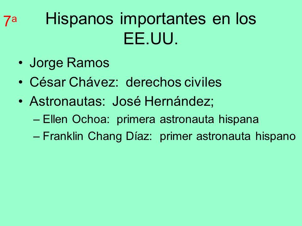 Hispanos importantes en los EE.UU. Jorge Ramos César Chávez: derechos civiles Astronautas: José Hernández; –Ellen Ochoa: primera astronauta hispana –F