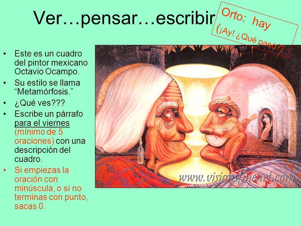 Ver…pensar…escribir Este es un cuadro del pintor mexicano Octavio Ocampo. Su estilo se llama Metamórfosis. ¿Qué ves??? Escribe un párrafo para el vier