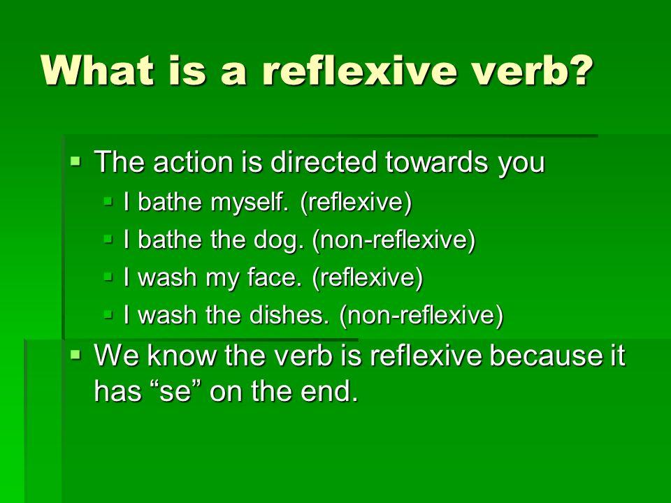 Reflexive Pronouns Me (yo)Nos (nosotros) Me (yo)Nos (nosotros) Te (tú) Te (tú) Se (él/ella/ud.) Se (ellos/ellas/uds) Se (él/ella/ud.) Se (ellos/ellas/uds)
