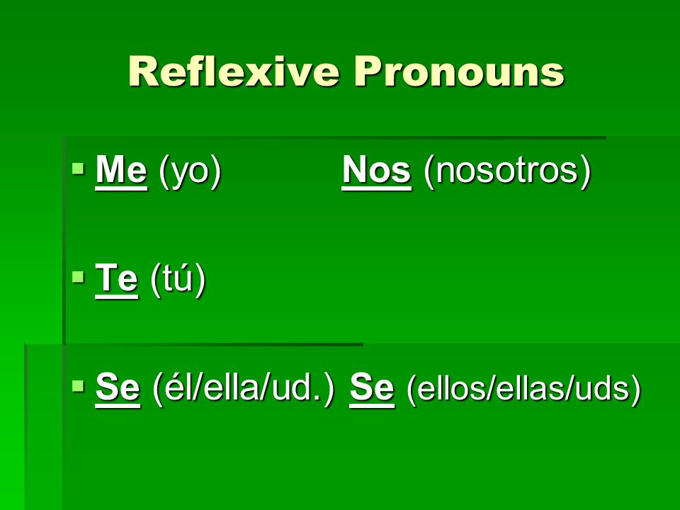 Steps to conjugate - lavarse Take se and place it at the beginning Take se and place it at the beginning Se lavar Se lavar Decide who we are talking about – I Decide who we are talking about – I Me lavar Me lavar Conjugate the verb lavar Conjugate the verb lavar Me lavo Me lavo