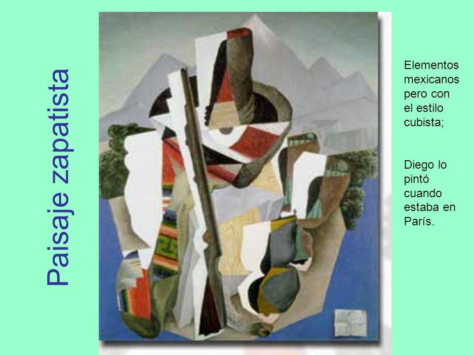 Paisaje zapatista Elementos mexicanos pero con el estilo cubista; Diego lo pintó cuando estaba en París.