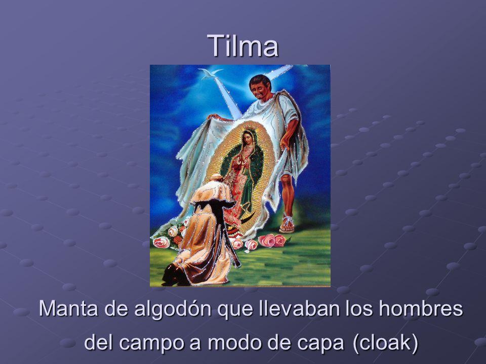 Tilma Manta de algodón que llevaban los hombres del campo a modo de capa (cloak)