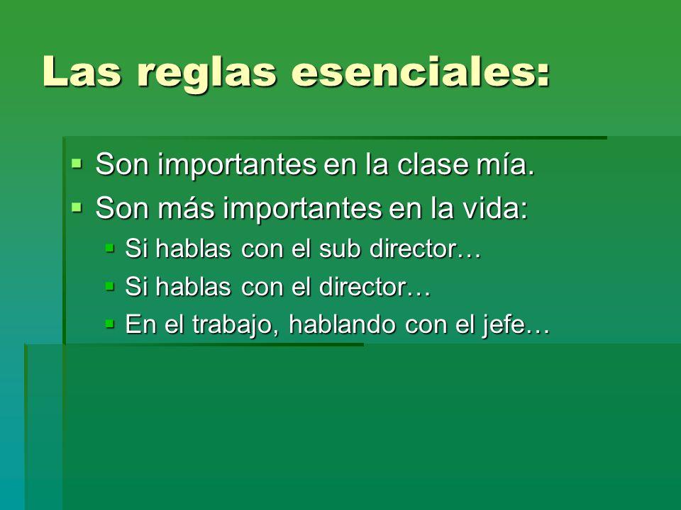 Las reglas esenciales: Son importantes en la clase mía. Son importantes en la clase mía. Son más importantes en la vida: Son más importantes en la vid