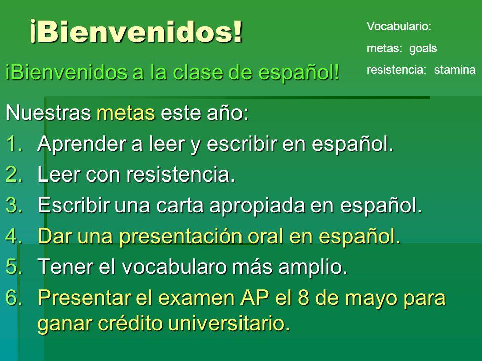 ¡ Bienvenidos! iBienvenidos a la clase de español! Nuestras metas este año: 1.Aprender a leer y escribir en español. 2.Leer con resistencia. 3.Escribi