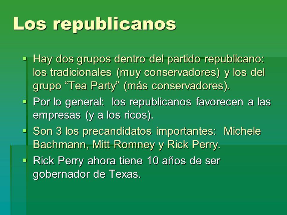 Los republicanos Hay dos grupos dentro del partido republicano: los tradicionales (muy conservadores) y los del grupo Tea Party (más conservadores). H