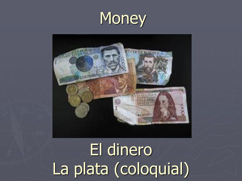 Money El dinero La plata (coloquial)