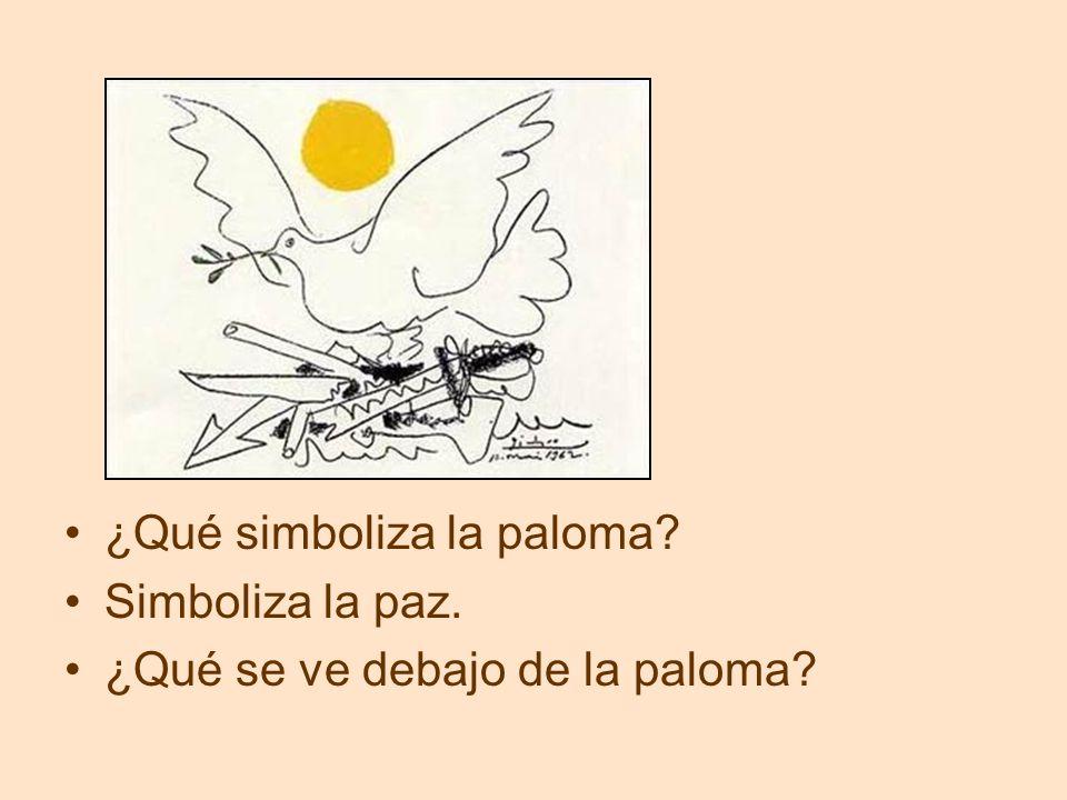 ¿Qué simboliza la paloma? Simboliza la paz. ¿Qué se ve debajo de la paloma?