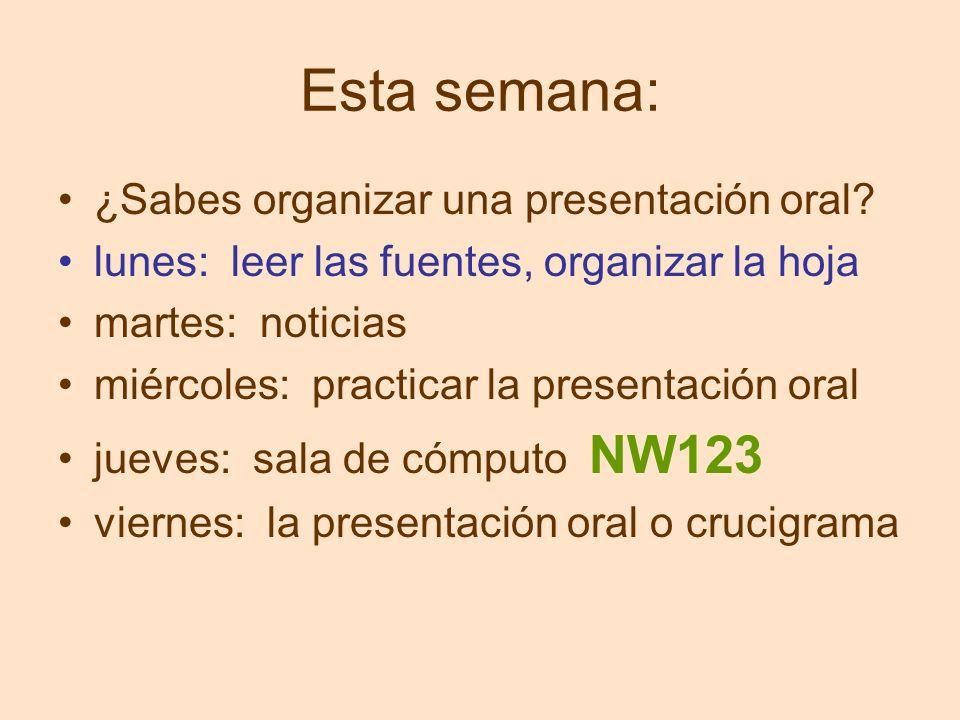 Esta semana: ¿Sabes organizar una presentación oral? lunes: leer las fuentes, organizar la hoja martes: noticias miércoles: practicar la presentación