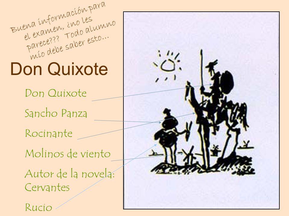 Don Quixote Buena información para el examen, ¿no les parece??? Todo alumno mío debe saber esto… Don Quixote Sancho Panza Rocinante Molinos de viento