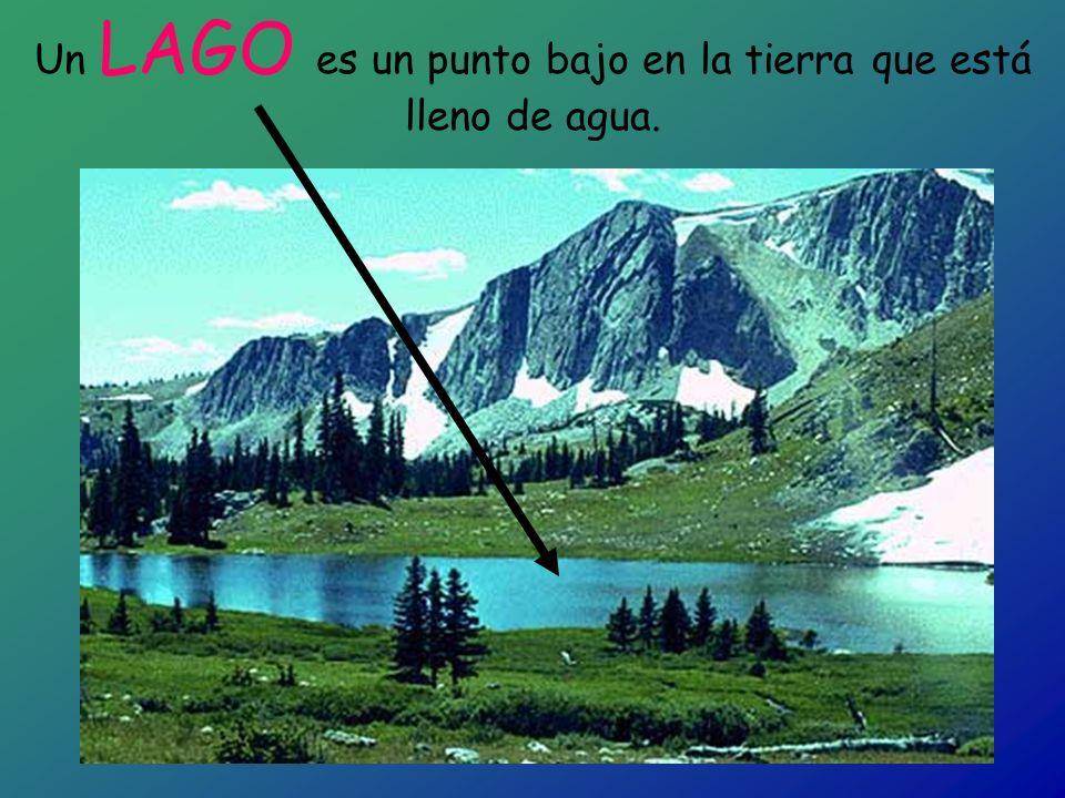 Un LAGO es un punto bajo en la tierra que está lleno de agua.