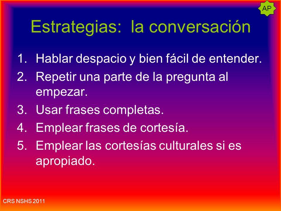 CRS NSHS 2011 Conversación simulada Tener cuidado: si hablas rápido, te queda tiempo. Lo mejor es hablar entre 15 a 19 segundos.