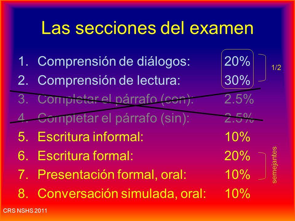 CRS NSHS 2011 Las secciones del examen Escrito* (leer, escribir)--el 60% Oral (escuchar, hablar) --el 40% Escribir con letra de molde para que se pued