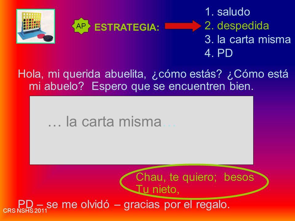CRS NSHS 2011 Estrategias- Escritura Informal Aun si es emilio, no usar q en vez de que. Escribir toda la palabra que. [xq bb] Ten cuidado de incluir