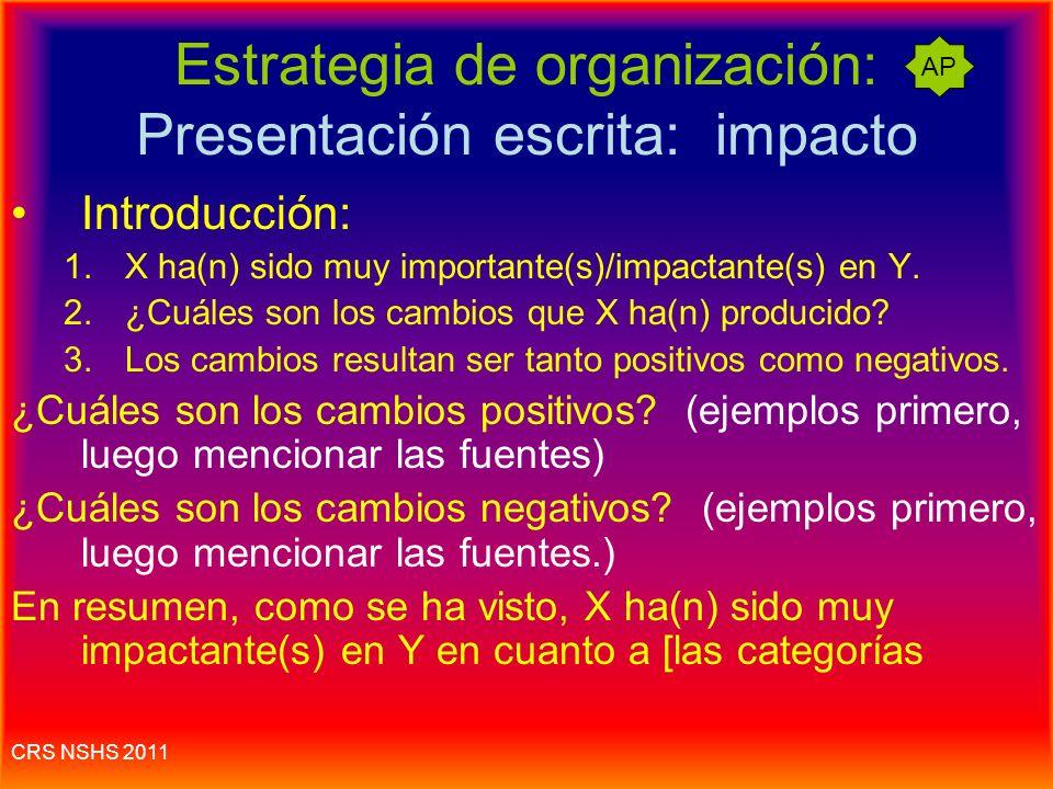 La presentación escrita :: ¿Cuál es el impacto de X en Y? La pregunta de la presentación casi siempre tiene que ver con el impacto (efecto, importanci