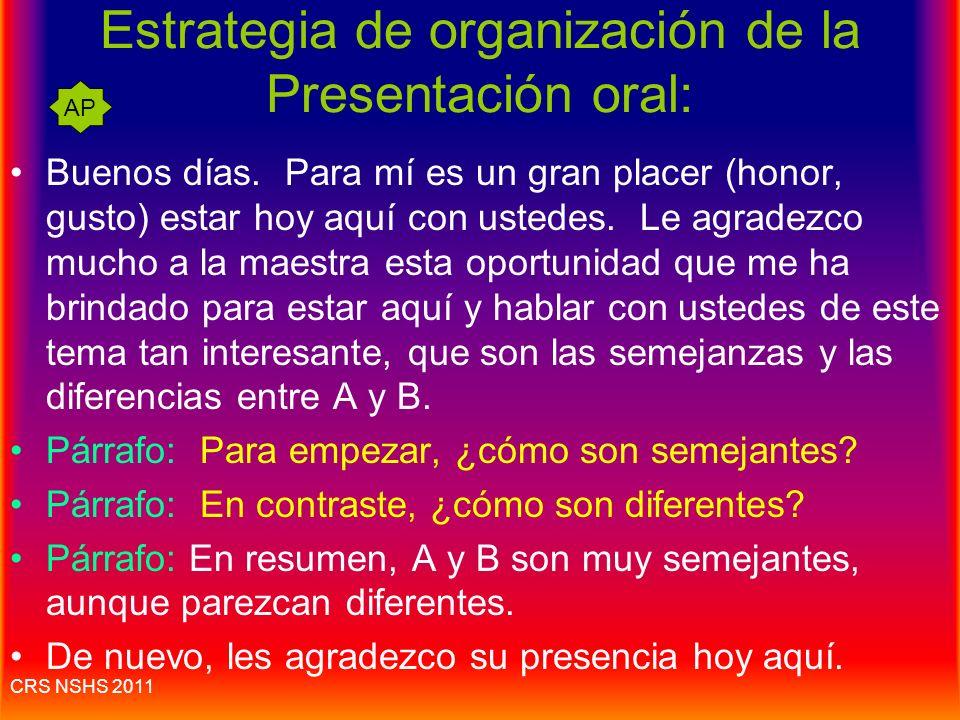 Estrategias: presentación oral 1.Saber de antemano cuáles son las instrucciones; usar el minuto de instrucciones para organizar el esquema. 2.Sacar ap
