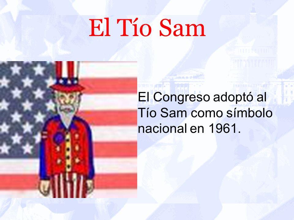 El Tío Sam El personaje de caricatura del Tío Sam, con un traje azul, blanco y rojo aparece en las comedias políticas en los años de 1830. Su sombrero