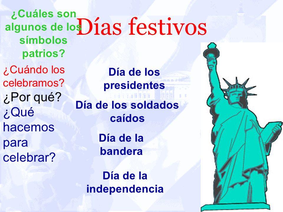 Días festivos Día de los presidentes ¿Cuáles son algunos de los símbolos patrios? ¿Cuándo los celebramos? ¿Por qué? ¿Qué hacemos para celebrar? Día de