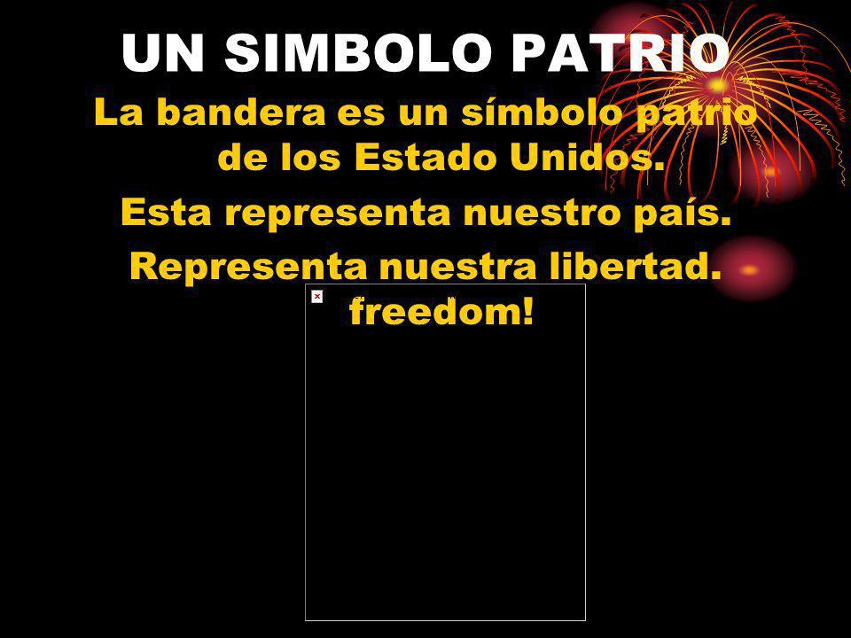 UN SIMBOLO PATRIO La bandera es un símbolo patrio de los Estado Unidos. Esta representa nuestro país. Representa nuestra libertad. freedom!